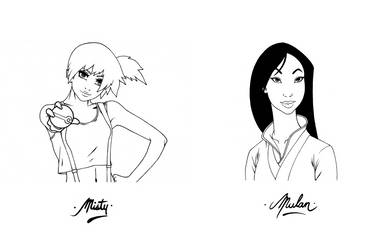 Misty and Mulan Commission Busts by 13th-Letter