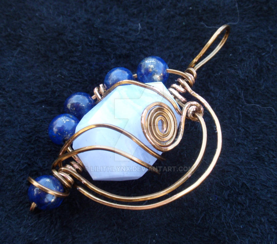 Blue Lace Agate Pendant by LilithLynx