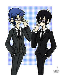 Cool and Controlled Glasses Guys by SG-Karuta