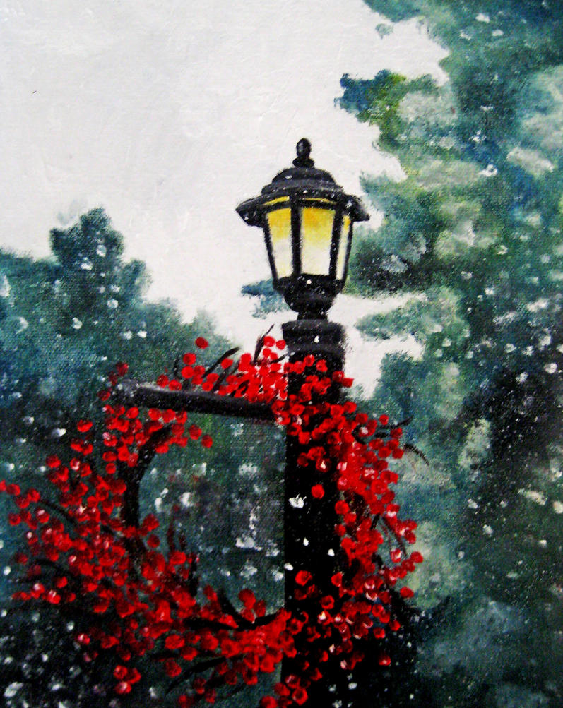 Winter Woodland Painting - Snowy Lamp Post by crucifiedcondios on ... for Lamp Post Painting  587fsj