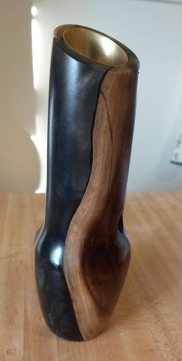 Walnut/Black Resin Vase 1