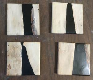 Maple Black Resin Coaster Set 1