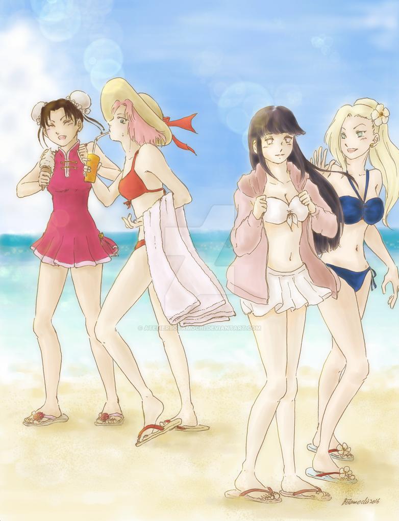 konoha girls on the beachatelierbotamochi on deviantart