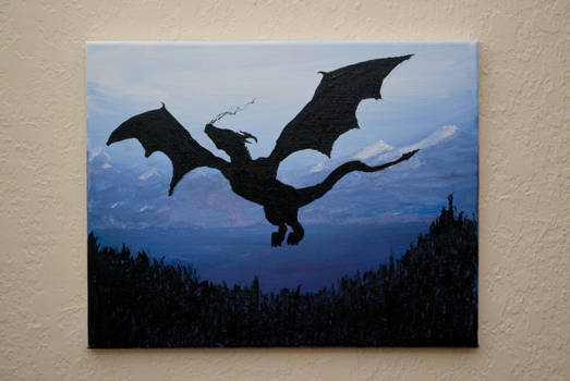 dragon silhouette acrylic painting