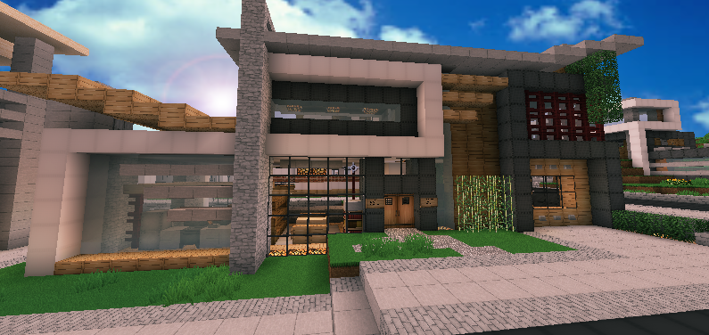 Wip contemporary modern house minecraft by andrewvtw on for Big modern houses on minecraft