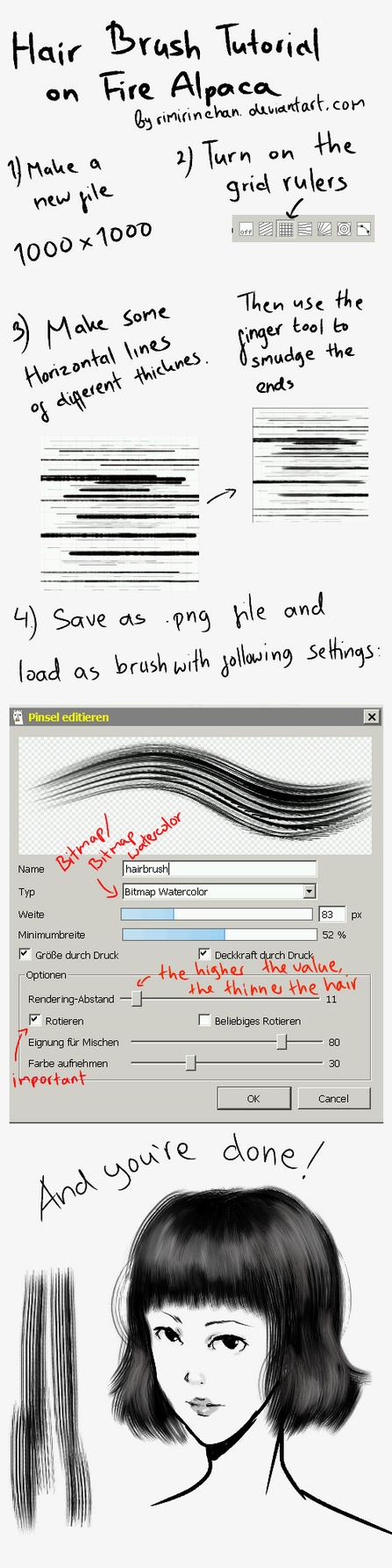 Hair Brush/ Flat Brush Tutorial on FireAlpaca by rimirinchan