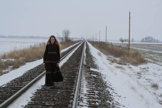 Woman and tracks Stock