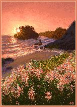 Sunset seashore - pixelscene by Dolaria