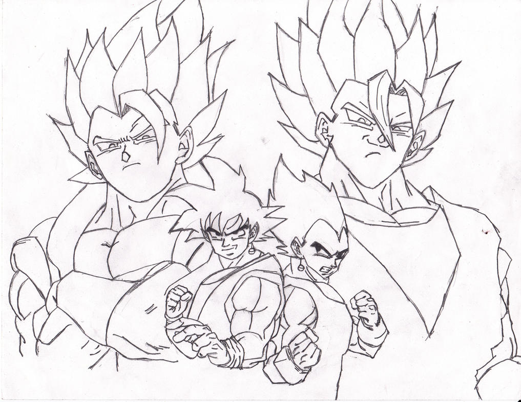 Fusion compilation goku and vegeta wip 1 by for Goku and vegeta coloring pages