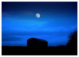 Barn and Moon by shutterpink