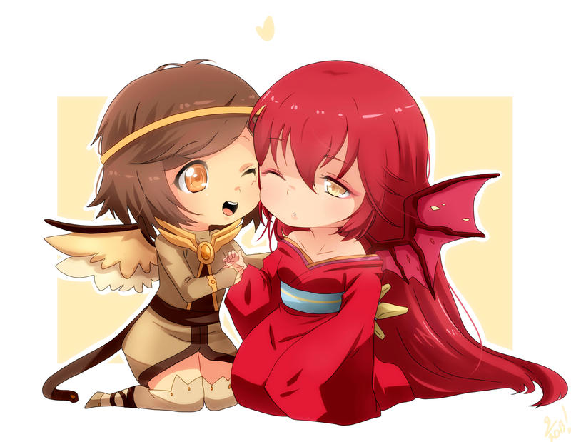 Chibi Commission: Otaia and Ammerose by irask