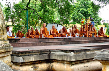 Buddhist monks in meditation by SmallCurryLeaf