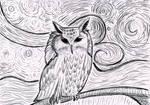 owl awake at a starry night