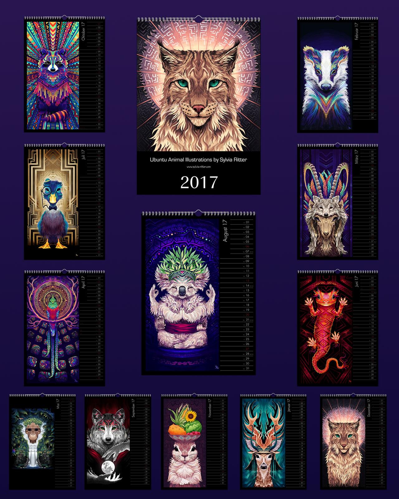 Ubuntu Animal Illustrations Calendar 2017