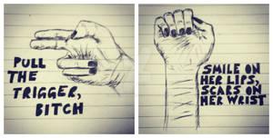 Self Harm Pen Sketches