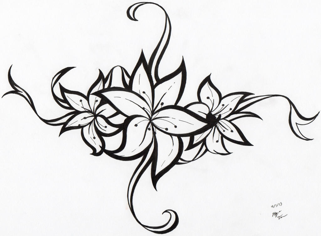 Tribal Flower Tattoo Design