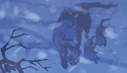 Bluefur (dashing through the snow) by Ridomesu