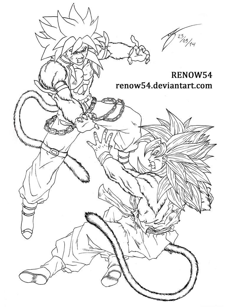 Son Goku SSJ4 (DBNGT) VS Bane SSJ4 by Renow54