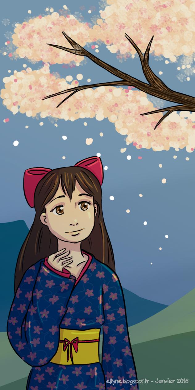 Kimono hanami by ElfyneInWonderland