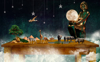 god's 'Africa' playroom at night. (revisited) by CouchyCreature