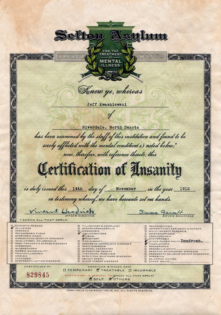 Certificate Of Insanity 5 By Joshua Mozes On Deviantart