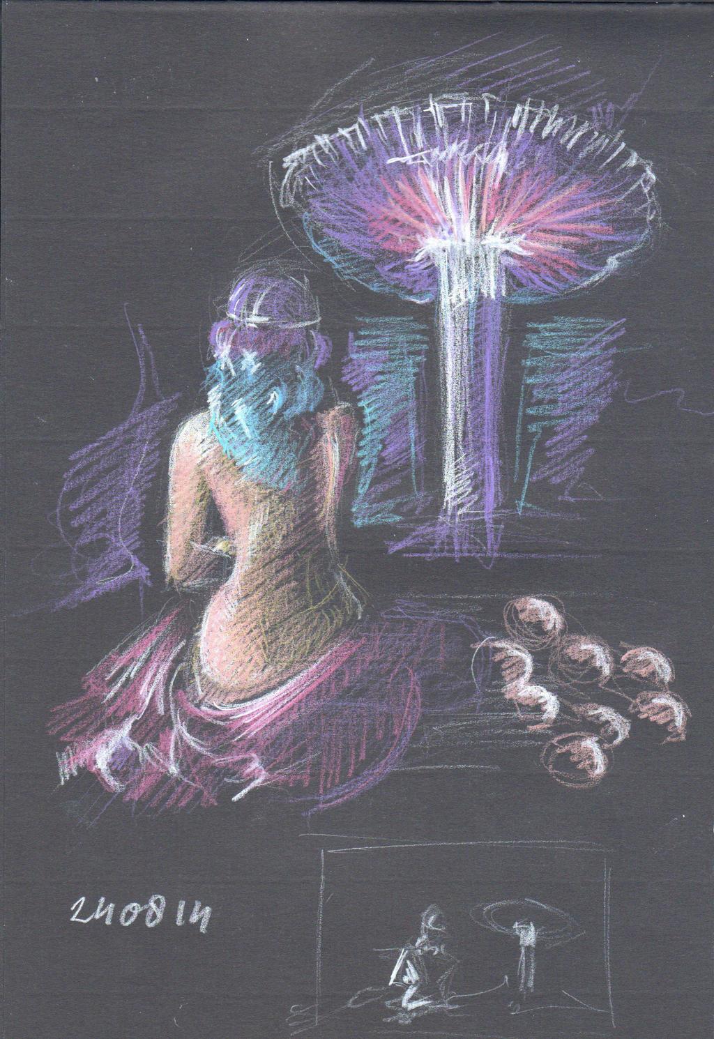 Composition Sketch Oasis Alien Planet
