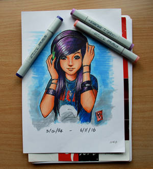 Christina Grimmie in copic markers WIP