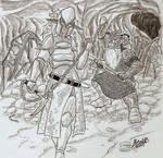 Drow and Dwarf duel