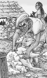 Orc shearing a sheep