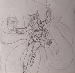 Ahri Sketch by Veeroniquee