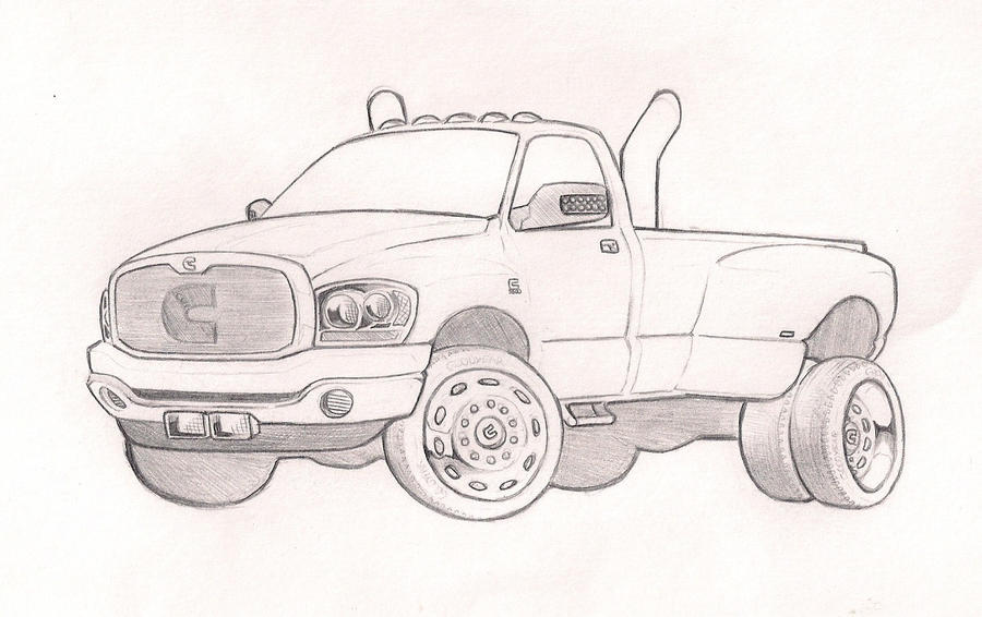 The gallery for dodge cummins drawings for Jacked up truck coloring pages