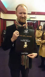 Mark Gatiss posing with my poster