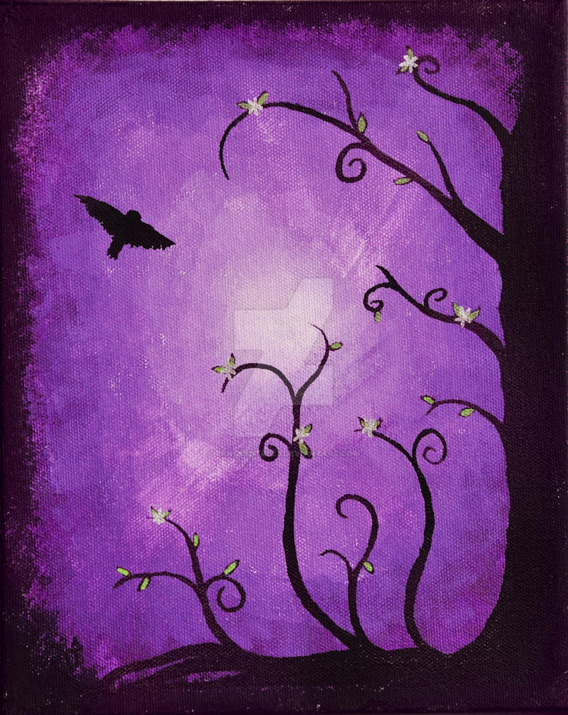Purple with Flying Owl by TangledTrees