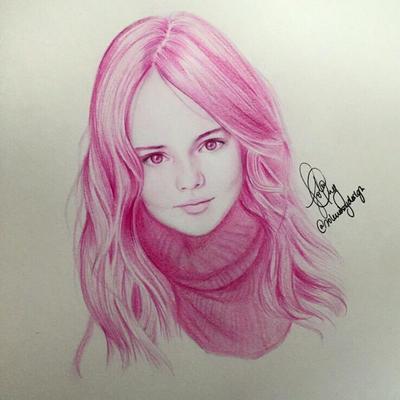 Monochromatic Drawing Of Kristina Pimenova By IJolene