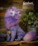 Fantasy purple Cat poseable art doll