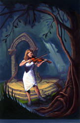 Violin in Ancient Forest