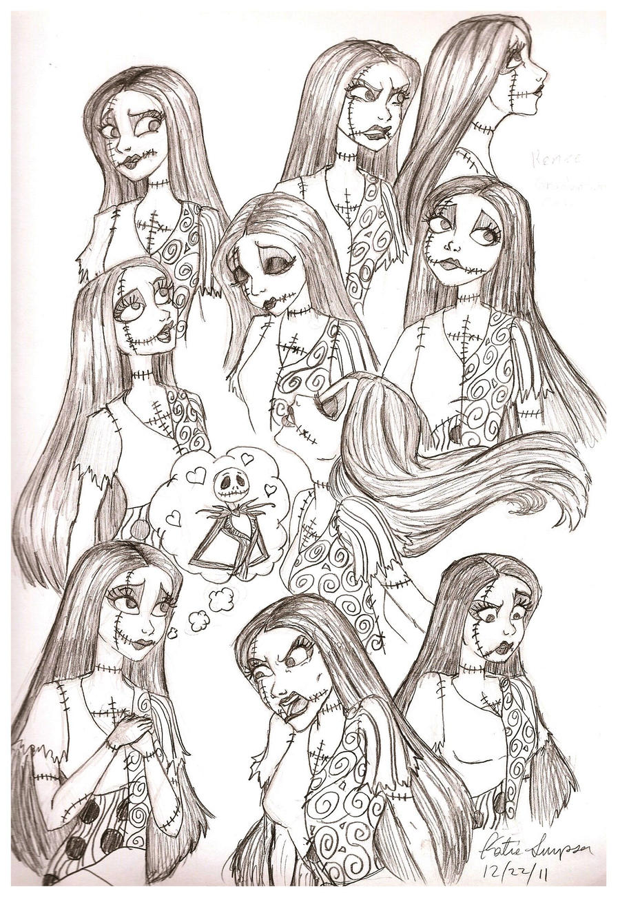 Character Design Nightmare Before Christmas : Sally sketches by redhead k on deviantart