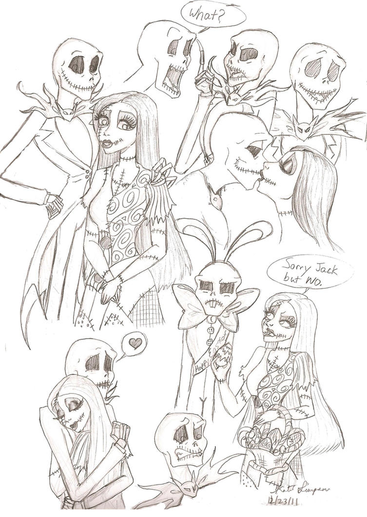 Jack and Sally sketches 2 by The Nightmare Before Christmas Sally And Jack Drawings
