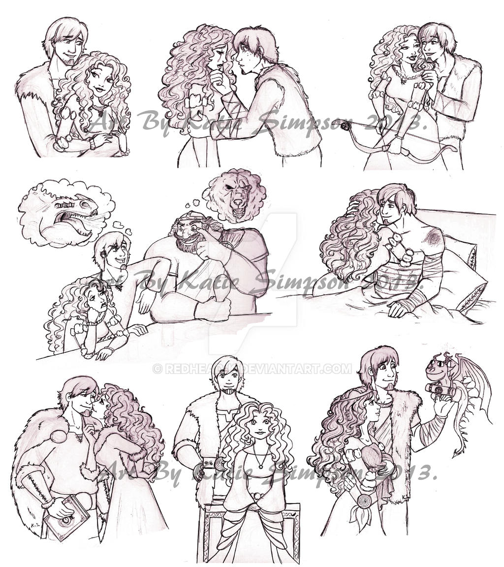 Merida and Hiccup Sketch Dump by Redhead-K