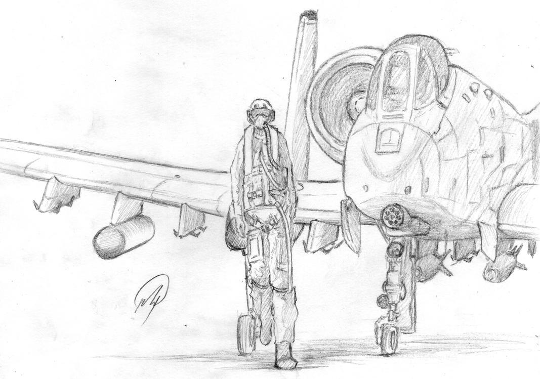 A 10 Thunderbolt Drawing Fairchild Republic A-1...