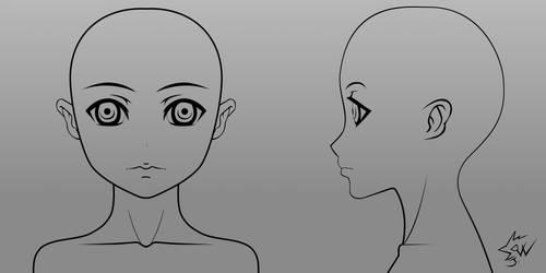 Anime Girl Head Model Sheet 01 by johnnydwicked