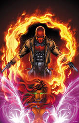 Red Hood and Starfire by BlondTheColorist
