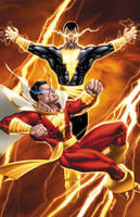 Captain Marvel vs Black Adam by BlondTheColorist