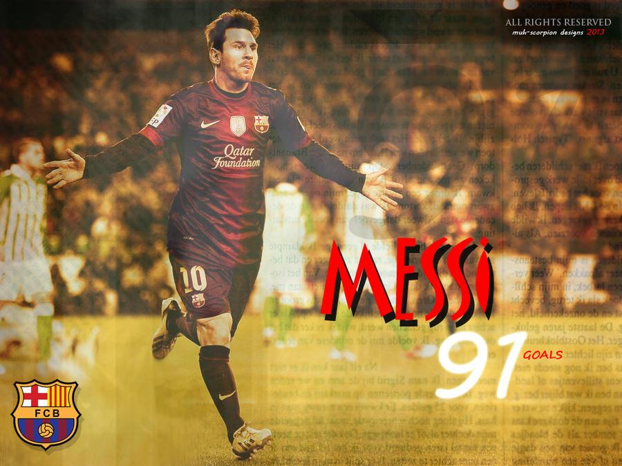 تصميم صورة لـ اللاعب ليونيل مسي بمناسبة تسجيل 91 هدف