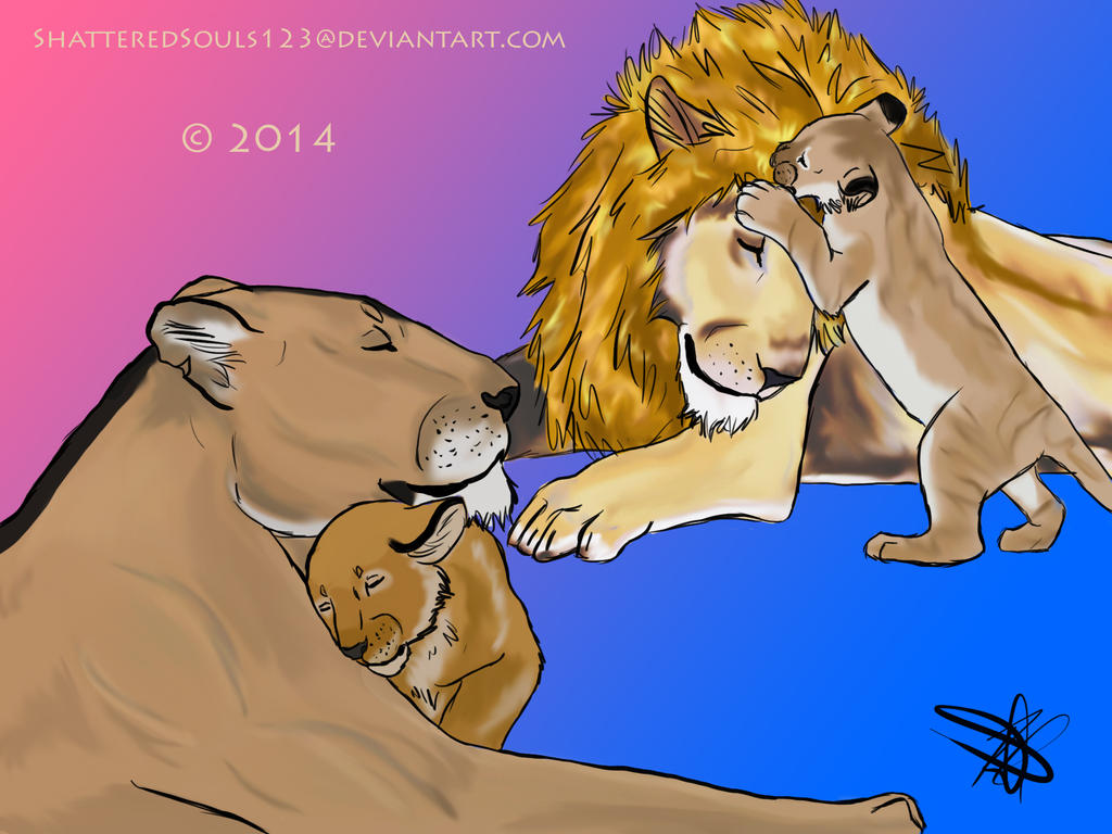 Lion Family by ShatteredSouls123