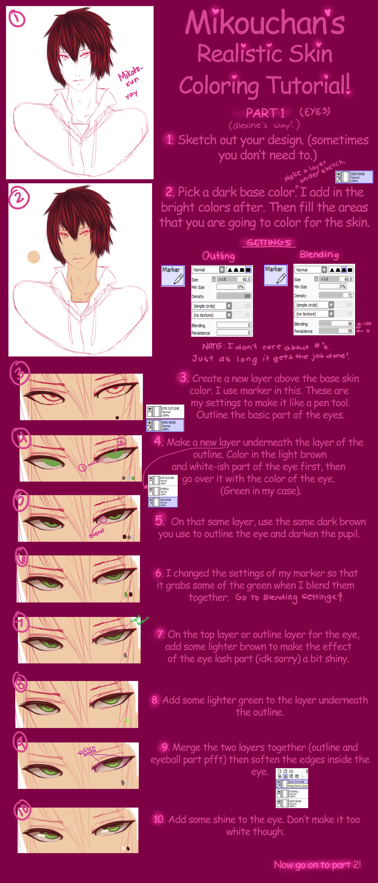 SAI Semi-Realistic Skin Coloring Tutorial Part 1 by Mikouchan