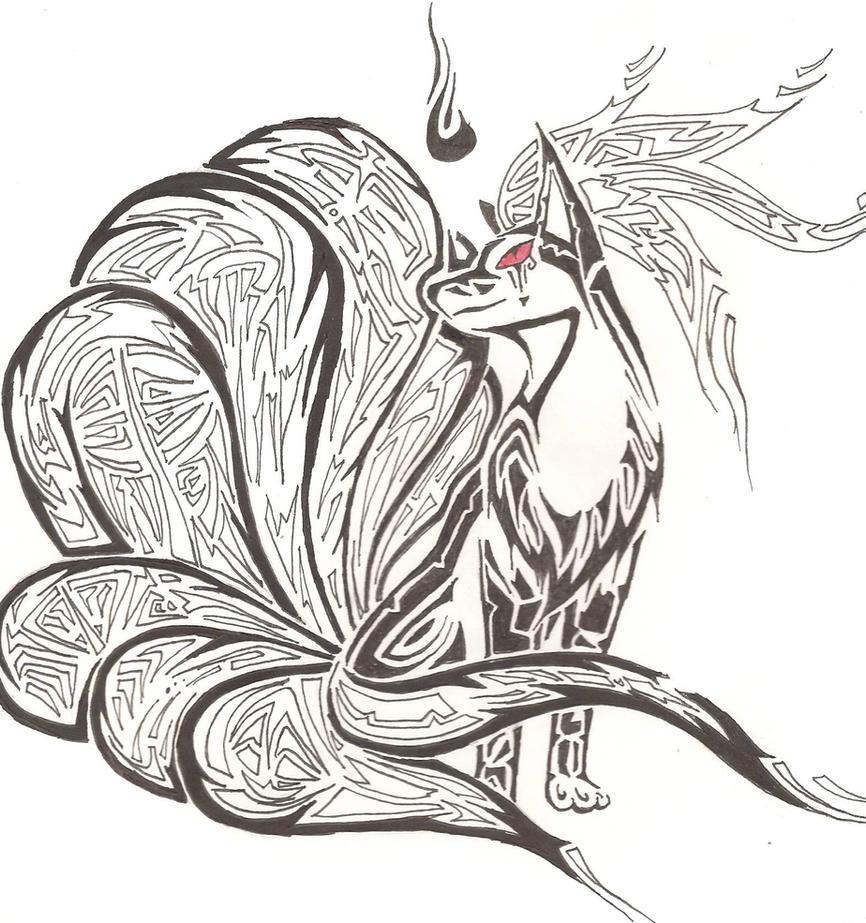 Tribal style white nine Tailed Fox Tattoo Design | Feeling ... |Tribal Nine Tailed Fox Tattoos