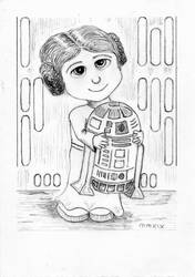 Little Leia and Artoo by mamabali