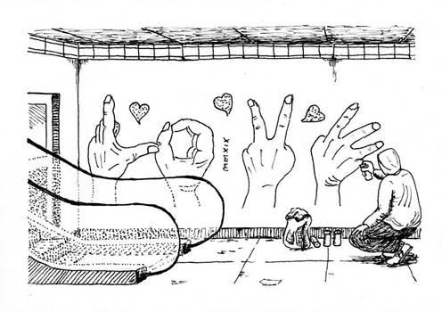 Street Art - Subway Station Hands