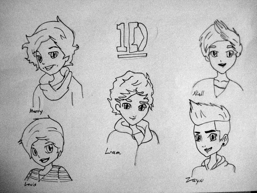 one direction chibis no color by consultingtimelord96